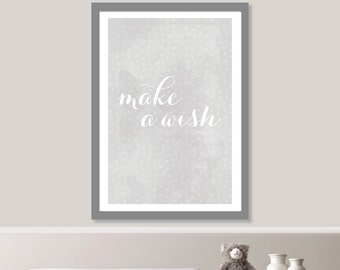 Make a Wish Stars Print // Minimalist Poster // Wall Art Poster // Nursery Poster // Typography Poster // Minimal Poster // Cute Baby