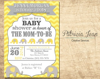 Elephants on Parade Printable Baby Shower Invitation
