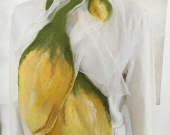 Nuno felted scarf chiffon silk with Merino Wool