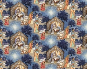 "Christmas Fabric, Religious Fabric: Blessed Jesus Birth Scene 100% cotton Fabric by the yard 36""x44""  (SC651)"