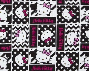 "Hello Kitty Fabric, Nursery Fabric: Hello Kitty Geometric Face Patch and dots on black  100% cotton Fabric by the yard 36""x43""(SC24)"