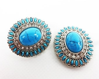 """Two 1-1/2"""" Turquoise Silver Bling Single Post Arts & Crafts Western Repair Bridle Concho"""