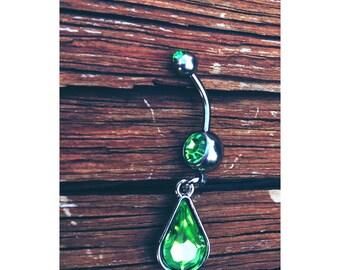 Green gems belly ring