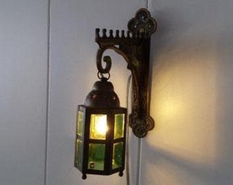 Antique Brass Lantern wall light 50 1960s vintage brocante curiosities gang lamp