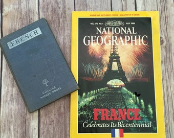 Collins French Phrase Book 1950 and National Geographic Magazine 1989 featuring France