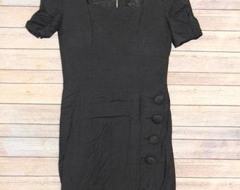 Vintage Black Button Dress
