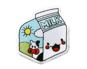 Milk Box Smiley Face Embroidered Applique Iron on Patch 6.3 cm. x 7 cm.