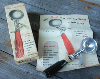 """Vintage Ice Cream Scoop, Black handle, """"Scoop"""""""