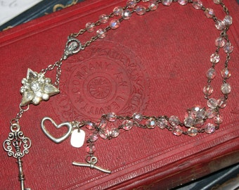 Mother's Key, necklace, vintage assemblage, rosary, Mary, religious, altered, repurposed, rhinestones