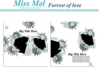 Digital scrapbook template : forrest of love