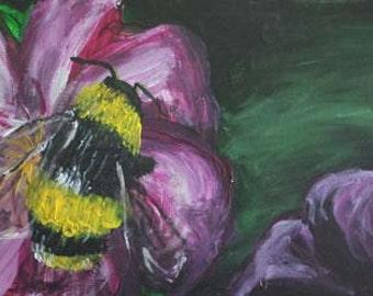 Bee on Purple Flower - Original Acrylic Painting