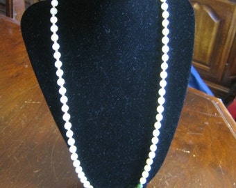 Vintage Mother of Pearl & Green Jade Beaded Necklace