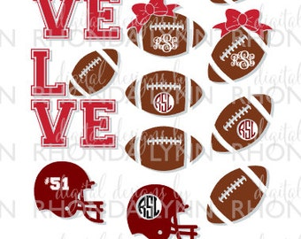 SALE! Football Monogram svg, dxf, jpg, png Vector Cut File, Football Monogram Frames, Helmet SVG Cut File, Love Football SVG Vector Cut File