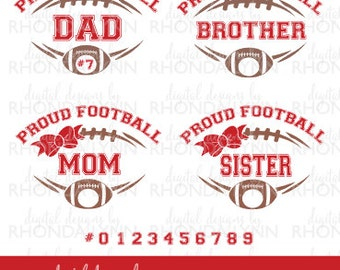 SALE! Football SVG, dxf, eps, jpg, png, Proud Football Dad, Proud Football Mom, Proud Football Brother, Proud Football Sister Cut Files