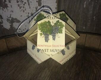 Kusudama / Modular Origami -- Napa Valley authentic wine label ornament