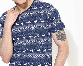 Allover Print Tshirt Graphic TShirt Mens T Shirt Navy Blue T Shirt Organic Cotton Clothing for Men