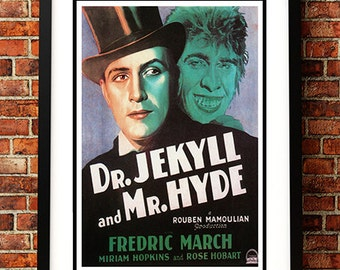 Dr Jekyll and Mr Hyde - Vintage Horror Sci Fi / Horror Movie Poster Print