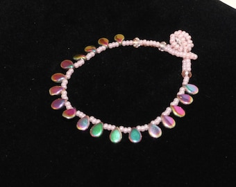 Peach and Petrol Glass Pips Bracelet