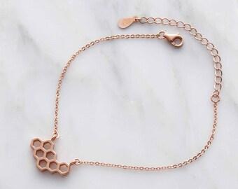 Honeycomb bracelet, simple bracelet, rose gold bracelet, geometric bracelet, sister gift, simple bracelet, girlfriend bracelet gift