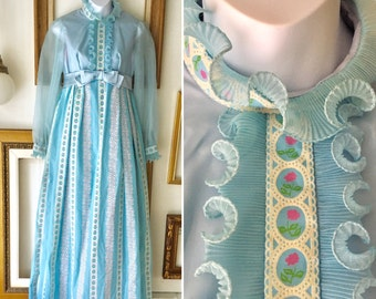 Vintage 60s Light Blue with Pink Floral Ruffle Gown - Free Ship
