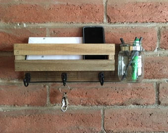 hanging mail orgaizer, wall mouted key ring, mason jar decor, rustic wall decor, mail and key organizer, command center decor, entry way