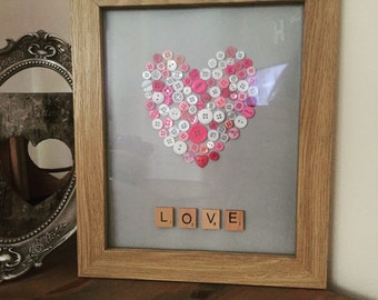 Heart buttons and scrabble