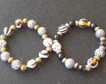 animal print elastic  bracelet set