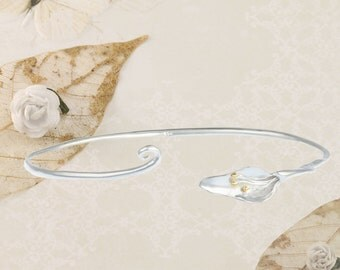 Silver Lily Cuff With Gold Plated Detail