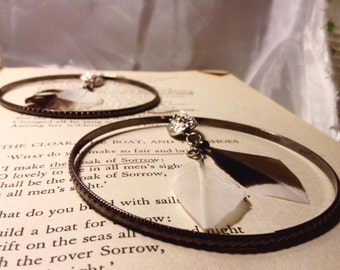 Silver Beaded Feather Hoops