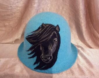Wool Felted filzhut Black Horse Blue Sauna Bath Spa Felt Blue Cap Hat Handmade Gift for Her Him Accessories Hats & Caps Woodland African