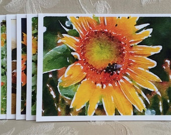 LowCountryNoteCards Sunflowers Watercolor Stationery