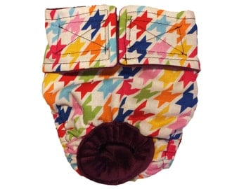 Colorful Houndstooth Washable Bunny Diaper Rabbit Diaper