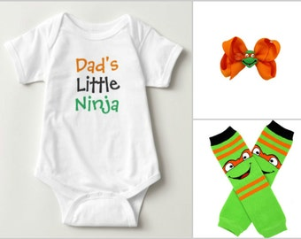 Ninja Turtle Baby Onesie, Leg Warmer, and Bow set