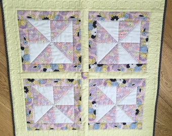 Handmade baby quilt, patchwork quilt, baby gift, car seat quilt, buggy quilt, baby travel mat.