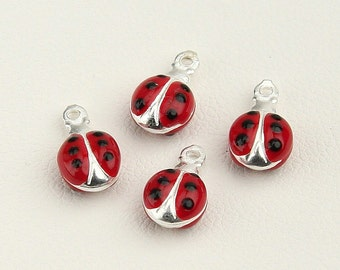 Lady Bug Charms, Charms for Bracelet, Sterling Silver 925, Italian Handmade Charms, Funny Charms, Lucky Charms, Jewelry Supplies 7582