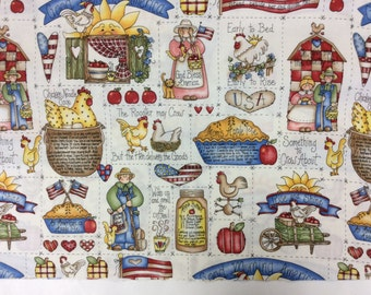 Country Apple Pie and Chicken Soup Cotton Fabric
