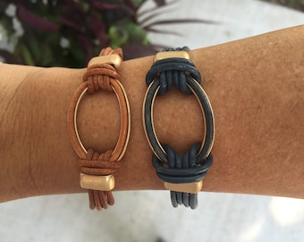 Denim colored natural genuine leather bracelet with gold accents and magnetic clasp