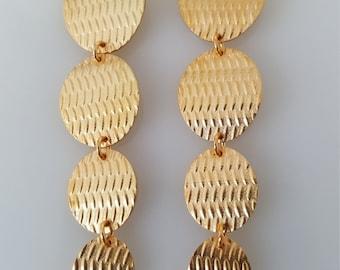 Dangle Earrings, Gold Earrings Dangle, Gold Hammered Earrings, Round Earrings, 14k Gold Earrings, Classic Earrings, Wedding Earrings
