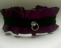 Purple and black BDSM pet play collar