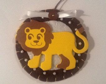 Handmade felt lion ornament
