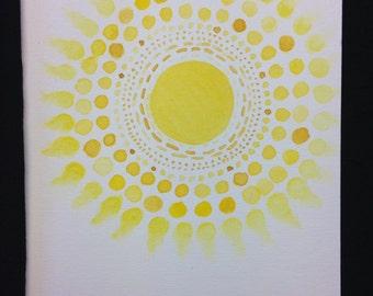 Sunglow Watercolour Print Card - BLANK INSIDE