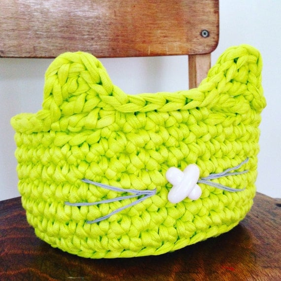 Cat ear basket crochet pattern