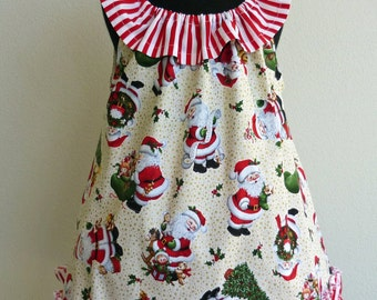 Christmas dress with contrasting ruffle neckline