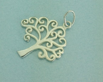 "Sterling silver ""Tree of Life"" charm. Sterling silver Tree charm. 925 Sterling Tree of Life Pendant."