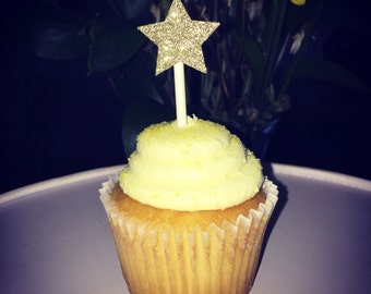 Gold star cupcake topper, set of 12