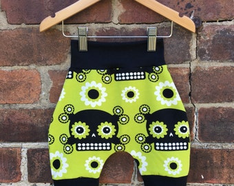 Green Sugar Skulls Baby Toddler Child Kids Shorts Bloomers - Size 0