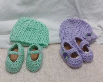 Adorable crochet baby girl Hat and Mary Janes shoes set
