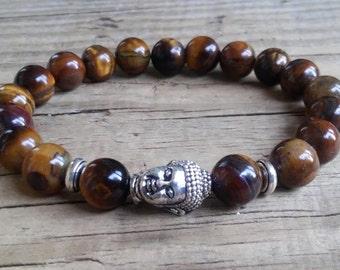 Tiger eye Buddha bracelet brown tiger eye stretch bracelet with lucky Buddha head power feng shui mala good luck protection crystal bracelet