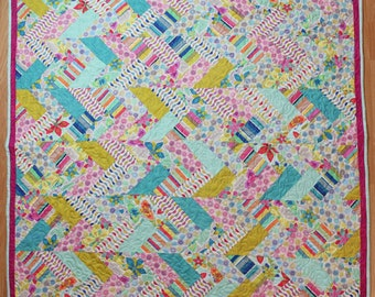 Zingy tropical modern French-braid Quilt