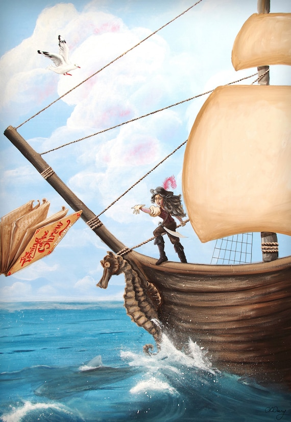 Kids Wall Art Print Captain Sally from an original acrylic painting by Corinne Dany / Art Print /  Kids Room / Pirate Ship / Gift